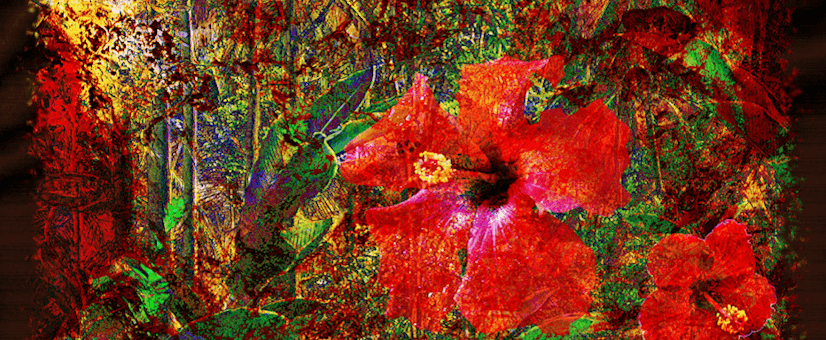 PluginCreativity Showcase Image of a Jungle in Red with Hibiscus Flower