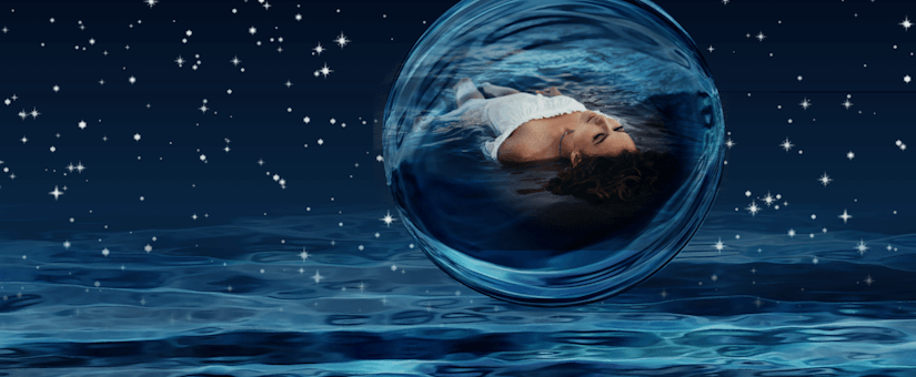 Photo Blender Plugin Showcase Image of a Swimming Woman in a Bubble in Space