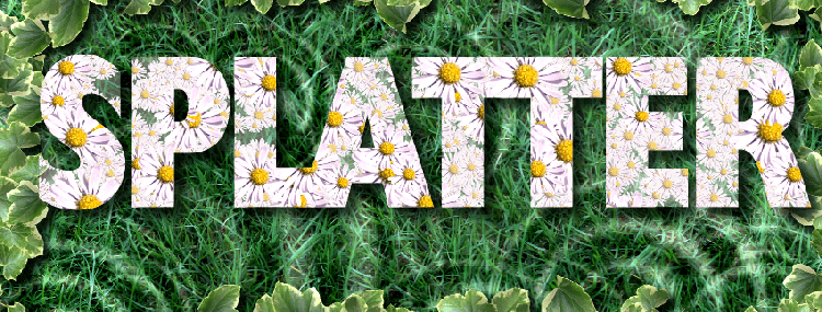 splatter montage of flowers on grass